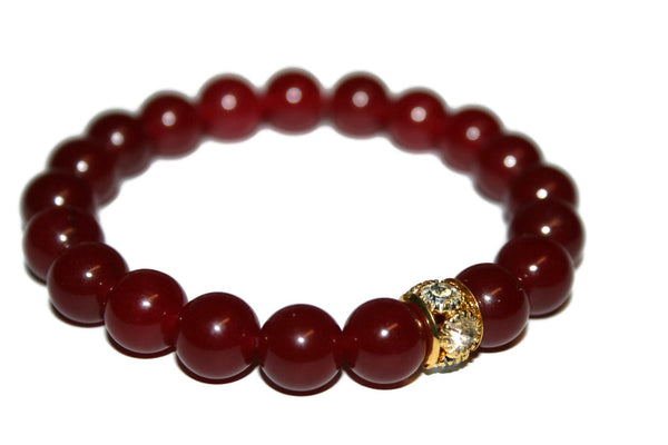 Women's Ruby Jade Bracelet | Yoga Jewelry | Healing Crystal Bracelets | Boho Jewelry | Red Bead Bracelet