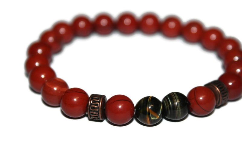 Men's Tiger Eye & Red Jasper Bracelet | Jewelry for Men | Beaded Bracelet - Zendelux Rose
