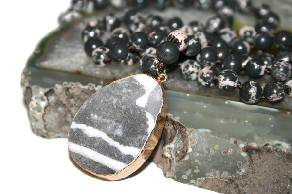 Jasper Necklace | Healing Crystal Necklace | Yoga Jewelry | Beaded Necklace - Zendelux Rose