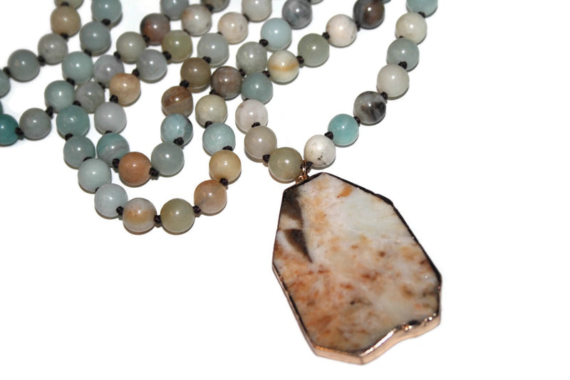 Amazonite Necklace | Healing Crystal Necklace | Yoga Jewelry | Beaded Necklace - Zendelux Rose