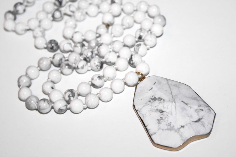 White Howlite Necklace, Healing Crystal Necklace, Yoga Jewelry