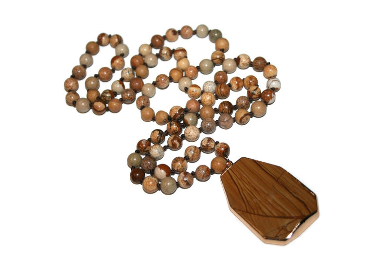 Picture Jasper Necklace, Healing Crystal Necklace, Yoga Jewelry - Zendelux Rose