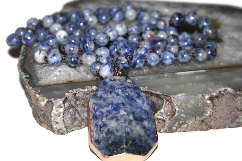 Blue Spot Jasper Necklace, Healing Crystal Necklace, Yoga Jewelry - Zendelux Rose