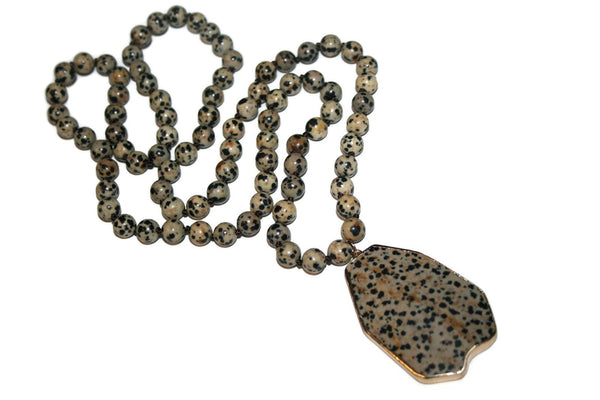 Dalmation Jasper Necklace, Healing Crystal Necklace, Yoga Jewelry - Zendelux Rose