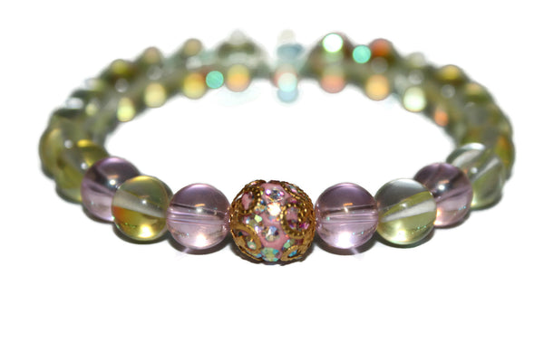 Women's Aura Quartz Bracelet | Healing Crystals for Women - Zendelux Rose