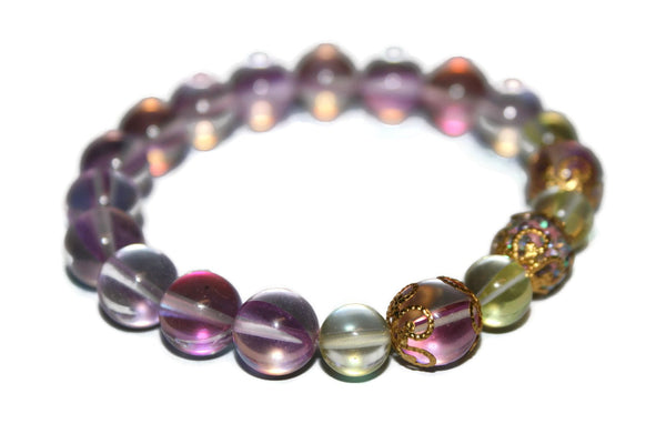 Women's Sunshine & Rose Aura Quartz Bracelet | Healing Crystals | Wedding Jewelry - Zendelux Rose
