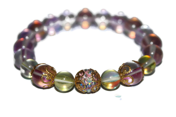 Women's Sunshine & Rose Aura Quartz Bracelet | Healing Crystals | Wedding Jewelry