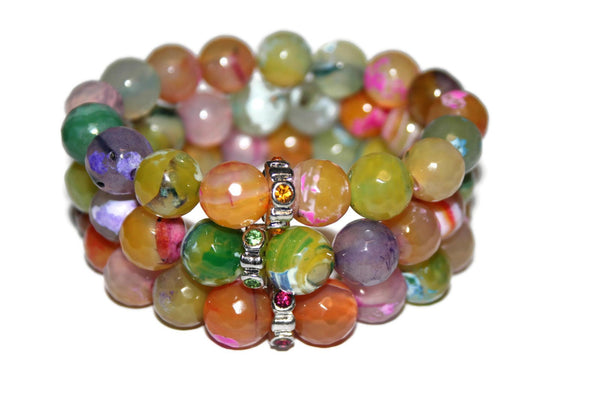 Rainbow Fire Agate Bracelet | Handmade Bracelet | Large Beaded Bracelet for Women - Zendelux Rose