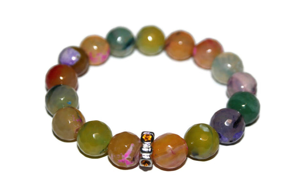 Women's Rainbow Fire Agate Bracelet | Handmade Bracelet | Fashion Jewelry for Women - Zendelux Rose