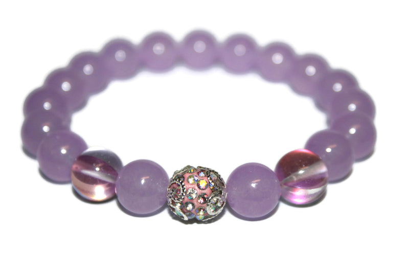 New Women's Purple Jade & Aura Quartz Bracelet | Healing Crystals for Women | Purple Bead Bracelet - Zendelux Rose