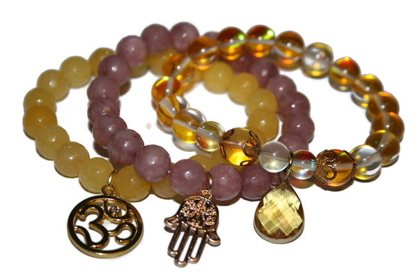 Women's Bracelet Set | Gemstone Jewelry for Women | Healing Crystals Bracelet | Yoga Jewelry - Zendelux Rose