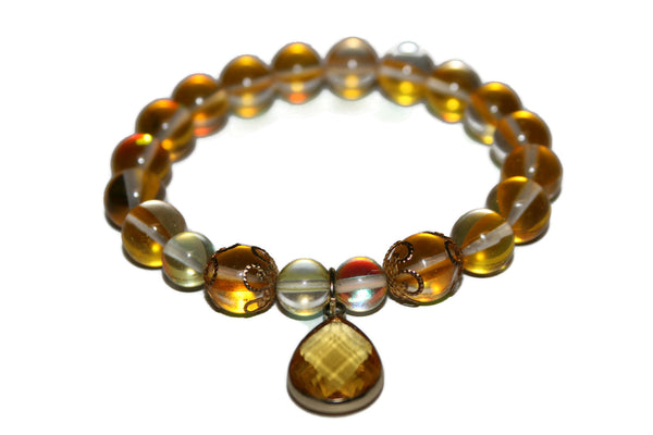 Women's Sunset Aura Quartz Bracelet | Healing Crystal Bracelet | Yoga Jewelry Gift for Women