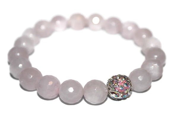 Women's Rose Quartz Bracelet | Healing Crystals for Women | Pink Bead Bracelet