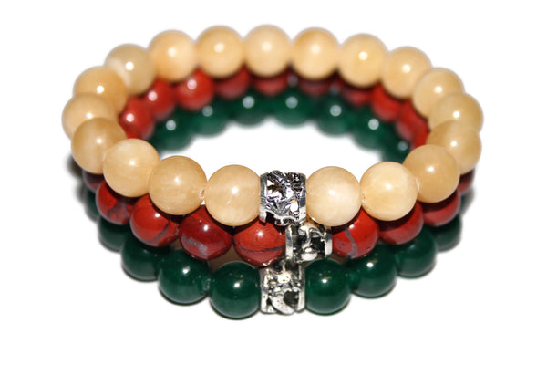 Men's Gemstone Bracelet Set | Dragon Bracelet | Healing Crystals Jewelry | Beaded Bracelet - Zendelux Rose