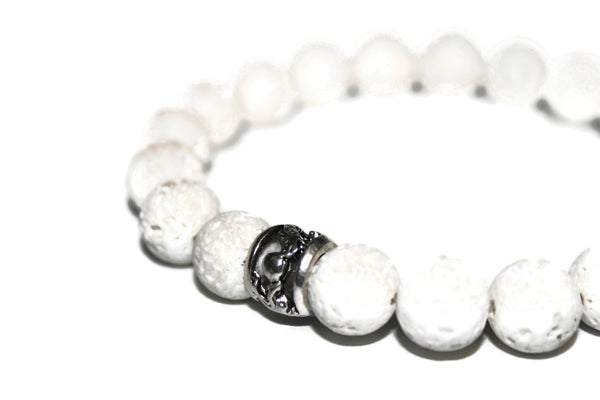 White Lava Rock Bracelet | Dragon Bracelet | Oil Diffuser Bracelet | Yoga Jewelry - Zendelux Rose