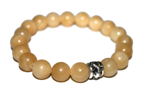 Natural Honey Jade Bracelet | Dragon Bracelet | Healing Crystals Jewelry | Yellow Bead Bracelet