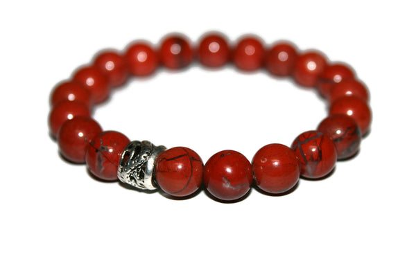 Red Jasper Bracelet | Dragon Bracelet | Healing Crystals Jewelry | Red Bead Bracelet