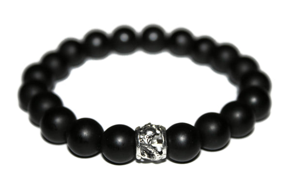 Men Matte Black Onyx Bracelet | Dragon Bracelet | Black Bead Bracelet