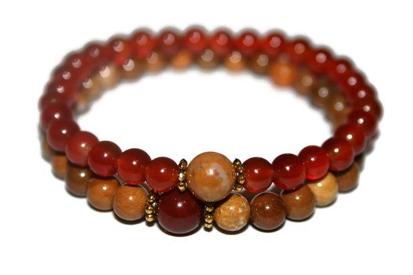 Red Agate & Jasper Bracelet Set | Couples Bracelets | Healing Crystal Jewelry - Zendelux Rose