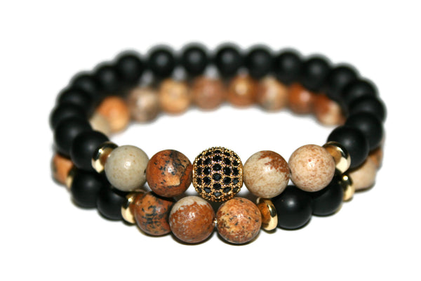 Picture Jasper & Black Onyx Bracelet Set |  Healing Crystals & Stones Jewelry for Men
