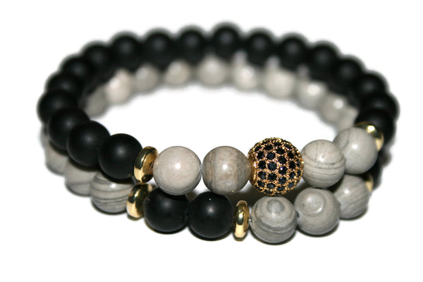 Men's Black Onyx & Map Jasper Bracelet | Gift for Him | Beaded Jewelry for Men - Zendelux Rose
