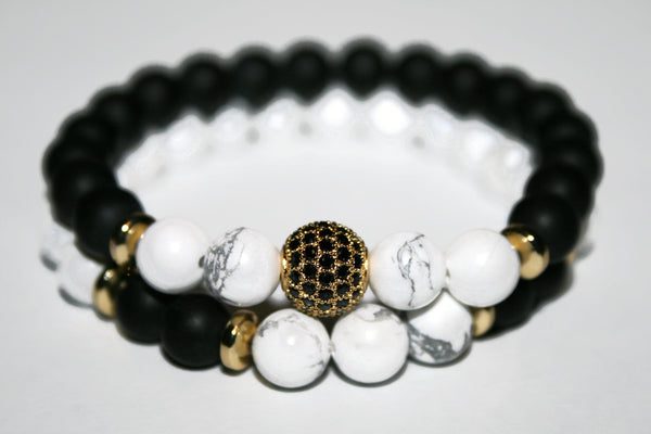 Men's Black Onyx & White Howlite Bracelet | Gift for Him | Beaded Jewelry for Men - Zendelux Rose