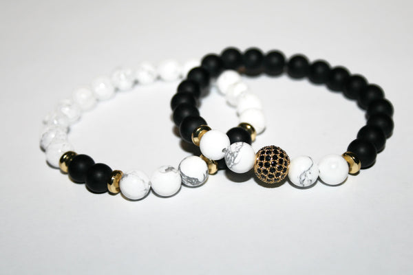 Men's Black Onyx & White Howlite Bracelet | Gift for Him | Beaded Jewelry for Men