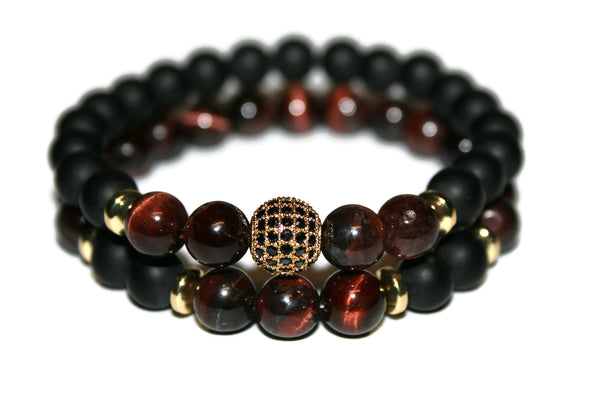 Red Tiger Eye & Black Onyx Bracelet Set | Pave Crystal Bracelets | Healing Jewelry for Men - Zendelux Rose
