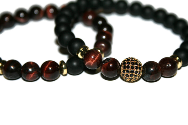 Red Tiger Eye & Black Onyx Bracelet Set | Pave Crystal Bracelets | Healing Jewelry for Men