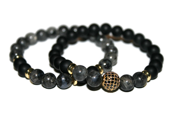 Men's Black Onyx & Labradorite Bracelet | Gift for Him | Beaded Jewelry for Men