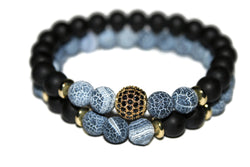 Men's Dragon Vein Agate & Black Onyx Bracelet Set | Gemstone Jewelry | Healing Crystals - Zendelux Rose