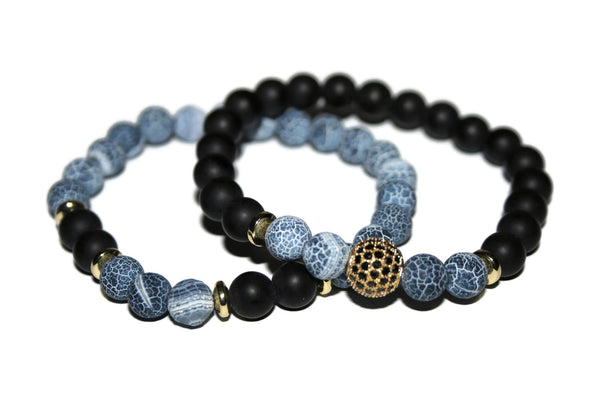 Men's Dragon Vein Agate & Black Onyx Bracelet Set | Gemstone Jewelry | Healing Crystals