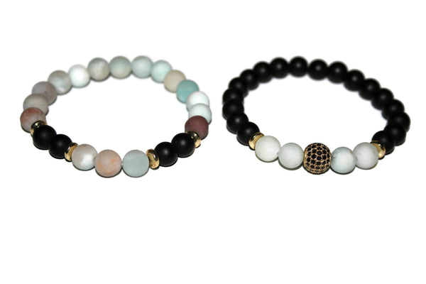 Women's Amazonite & Black Onyx Bracelet | Gift for Him | Beaded Jewelry for Women