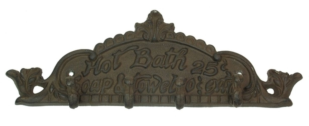 Cast Iron Wall Hook - Hot Bath 25 Cents
