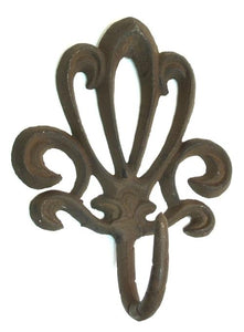 Cast Iron French Style Rust Wall Hook Set of 6
