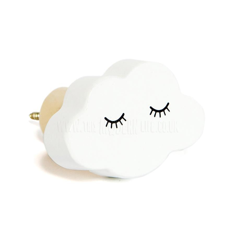 Wall Hook . Wooden / Kawaii Cloud - White