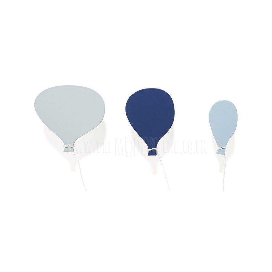 Wall Hook . Wooden Hot Air Balloons - Blue