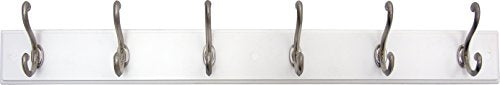 "Headbourne 93785E Rail 6 Chrome Hooks, White Board Coat Rack, 26"" Hookrail,"