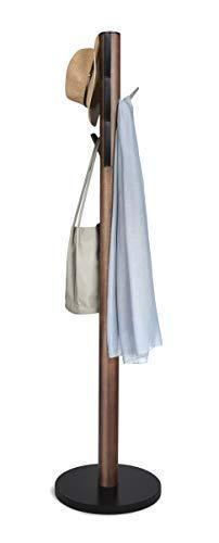 Get umbra flapper coat rack clothing hanger umbrella holder and hat organizer great for entryway black walnut