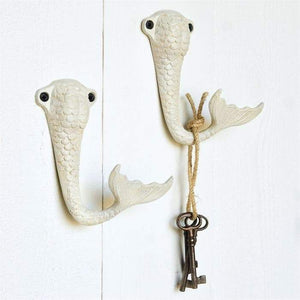 Mermaid Tail Wall Hooks Set/2 (Antique White)
