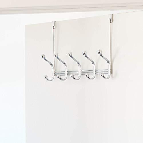Selection arkbuzz over door storage rack organizer hooks for coats hats robes clothes or towels 5 dual hooks chrome