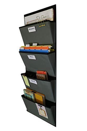Hanging File Organizer | Over The Door File Organizer | Fabric File Organizer For Magazines, Notebooks, Mail, Books and More | 4 Pockets (Grey on Black)