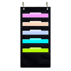 ZKOO Hanging File Folder Holder Cascading Fabric Organizer, Home School Office Classroom Filing Storage (5 pocket)