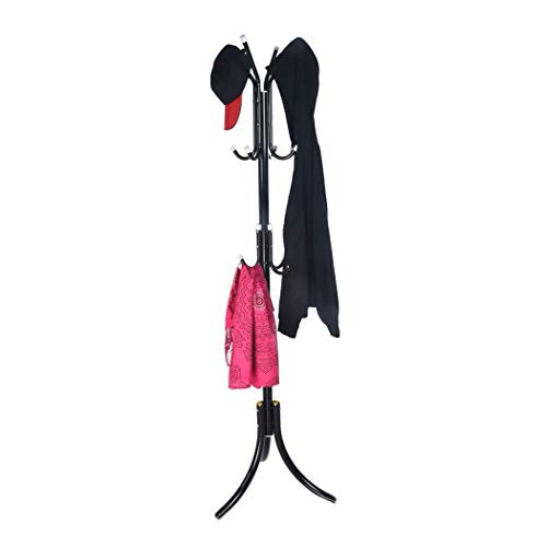Inkach Coat Rack Hats Hanger Holder Metal Hall Tree Floor Standing Clothes Hats Scarves Garment Storager (Black)