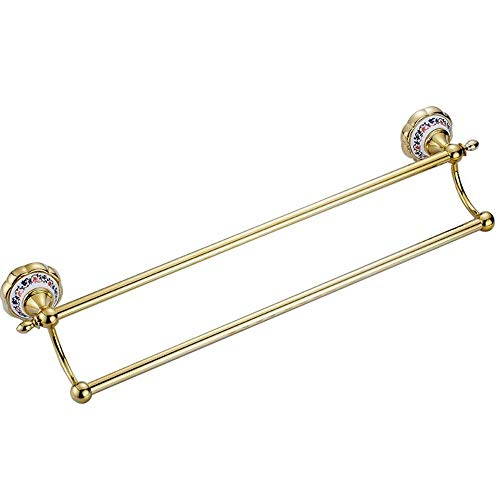Ping Bu Qing Yun Towel Rack - Copper, Antique Mirror Gold and Silver Flower Porcelain Bathroom Hardware Pendant Double Towel Rack, Suitable for Bathroom, Home - Two Colors Optional Towel Rack