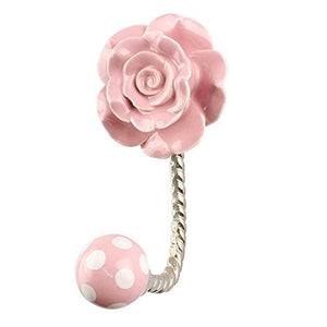 Indianshelf Handmade 1 Artistic Vintage Pink Ceramic Flower Rail Hooks Holders/Clothes Hooks Over Door