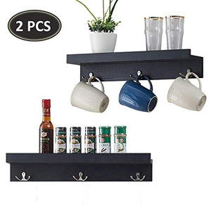 O&K FURNITURE Set of 2 Hanging Entryway Shelf with 3 Hooks, Wall Mounted Floating Shelf for Picture Display (19.8 Inches Length, Black-Oak)