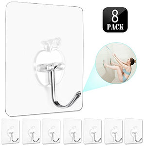 Powerful Transparent Wall Hook,HENGSHENG Heavy Duty Adhesive Hooks(13 lb Max) Reusable/Seamless Scratch/Waterproof and Oilproof,Suitable for Ceiling,Kitchen,Bathroom, Cubicle - 8 Hooks