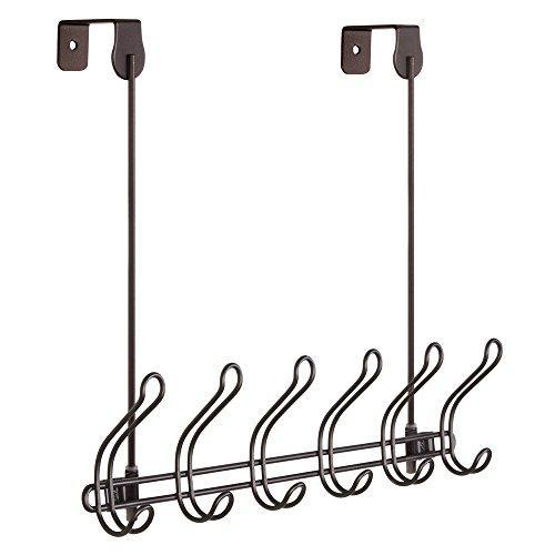 Buy now interdesign classico wall mount over door storage rack organizer hooks for coats hats robes clothes or towels 6 dual hooks bronze