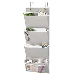 Hanging Wall Organizer, Over The Door File Organizer by Aoolife-Hanging Wall File Folder Office Supplies Storage Organizer with 2 Stainless Steel Hook,4 pocekt Hanging Storage Organizer (Grey)